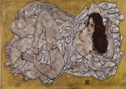 Schiele, Egon: Reclining Woman. Fine Art Print/Poster. Sizes: A4/A3/A2/A1 (003707)